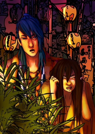 """Hanabi (Girl: Original Character) and Aoi (Blue Haired from the Otome Game """"Ninja Assassin"""")"""