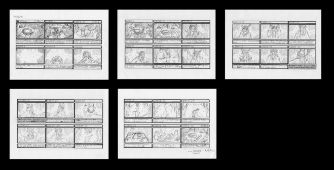 FINAL PROJECT STORYBOARD: Based on a script that I've wrote before I drew a storyboard to use as reference for the end project.
